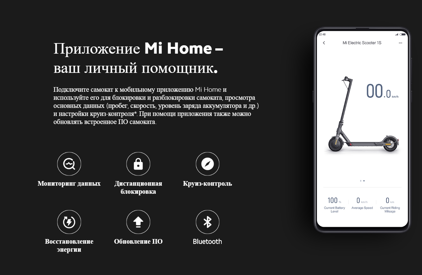 Умный электросамокат Xiaomi Mijia Electric Scooter 1S